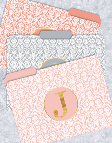 Pretty Damask Monogram J File Folders