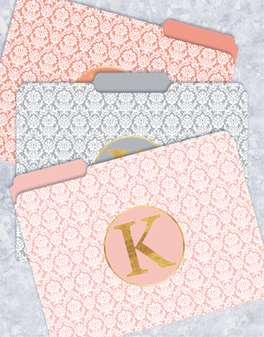Pretty Damask Monogram K File Folders