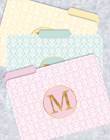 Pretty Damask Monogram M File Folders