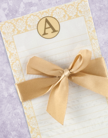 Pretty Damask Monogram A Shopping List Pad
