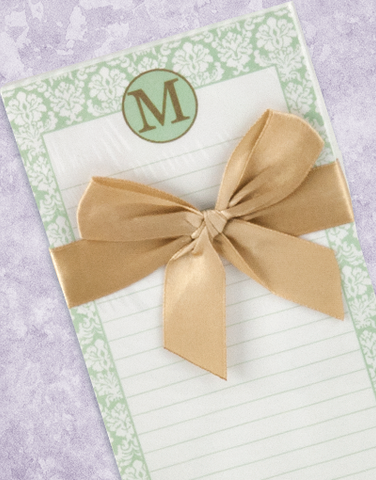 Pretty Damask Monogram M Shopping List Pad