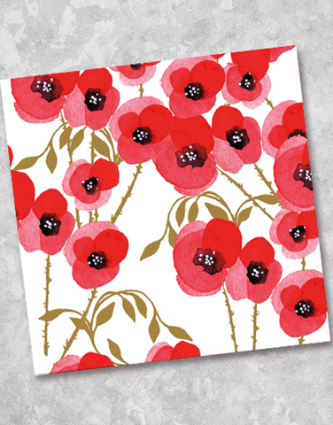 Stylized Poppies Beverage Napkins (36 Count)