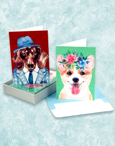 Stylish Doggies Note Card Set