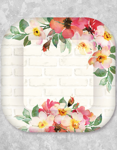Bricks and Blossoms Dessert Plates (15 Count)