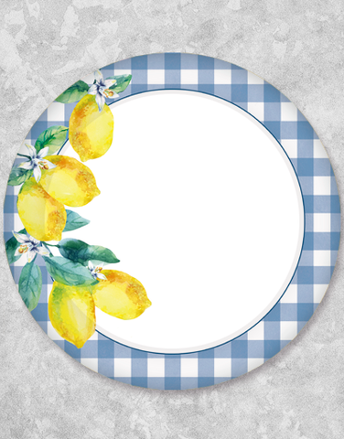 Gingham Lemons Blue Dessert Plates (15 Count)