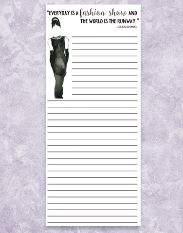 Fashion Show Shopping List Pad