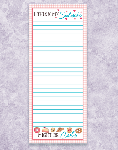 Carb Soulmates Shopping List Pads
