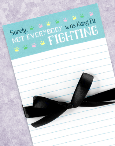 Kung Fu Fighting Shopping List Pads