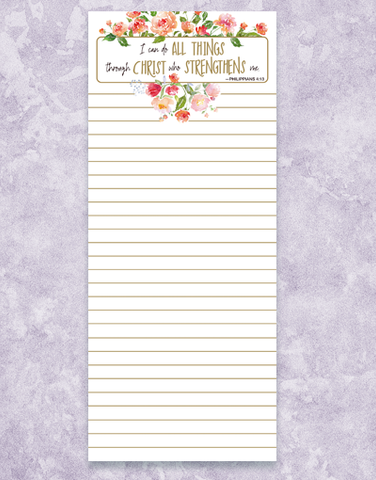 Christ Strengthens Shopping List Pads