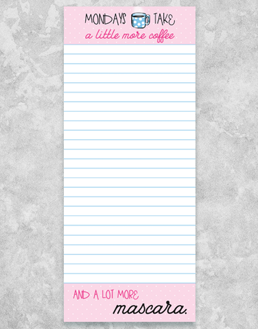 Coffee and Mascara Shopping List Pads