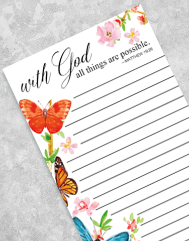 Butterflies with God Shopping List Pads