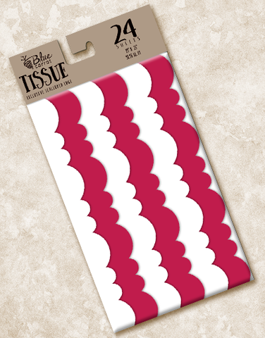 Red and White Scalloped Tissue Paper