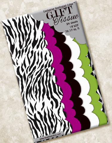 Trendy Zebra Scalloped Tissue Paper