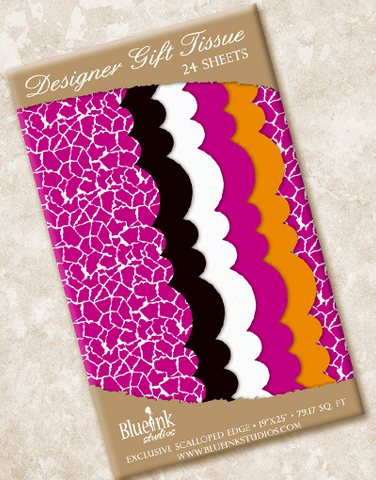Trendy Giraffe Scalloped Tissue Paper