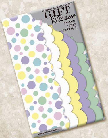 Pastel Polka Dots Scalloped Tissue Paper