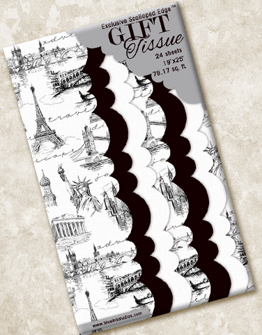 Travel Toile Scalloped Tissue Paper