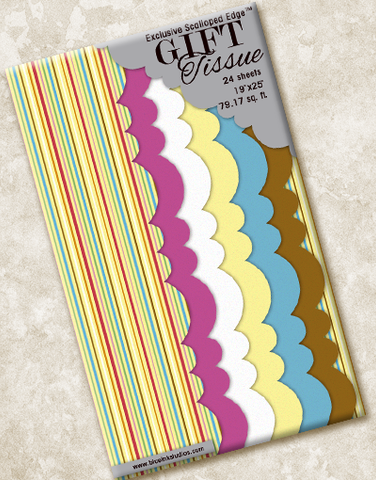 Carnival Stripe Scalloped Tissue Paper