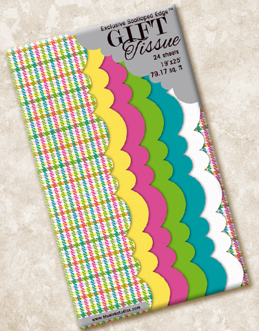 Colorful Houndstooth Scalloped Tissue Paper