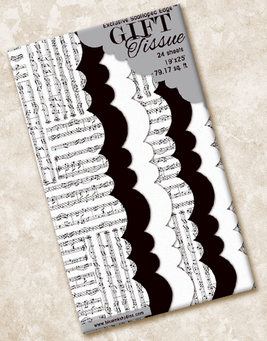 Music Score Scalloped Tissue Paper