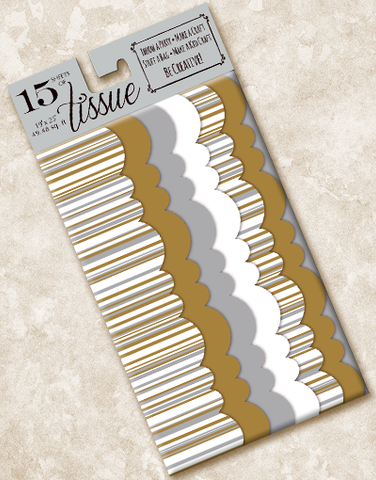 Gold and Silver Stripe Scalloped Tissue Paper