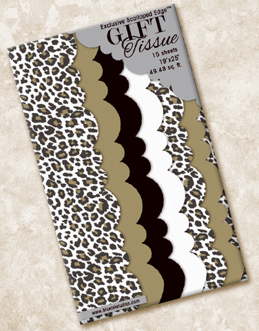 Golden Leopard Scalloped Tissue Paper