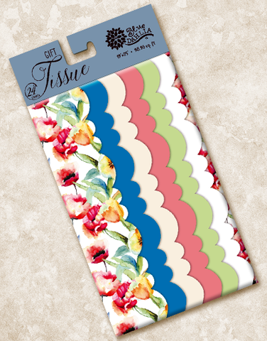 Watercolor Floral Scalloped Tissue Paper