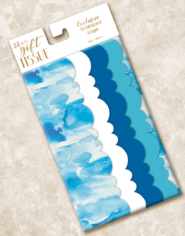 Blue Waves Scalloped Tissue Paper
