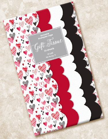 Whimsical Hearts Scalloped Tissue Paper