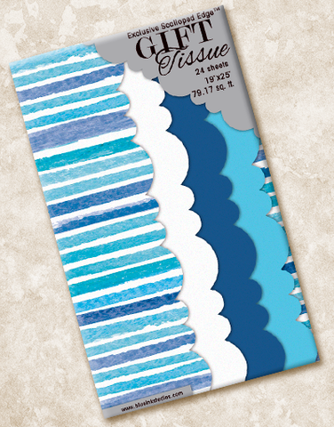 Cerulean Stripe Scalloped Tissue Paper