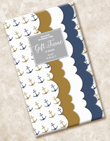 Anchors Aweigh Scalloped Tissue Paper