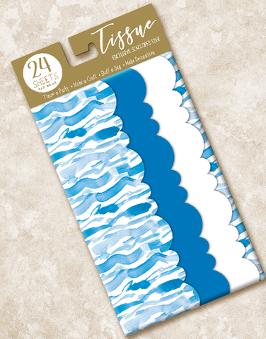 Watercolor Waves Scalloped Tissue Paper