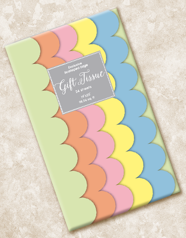Hot Pastels Scalloped Tissue Paper