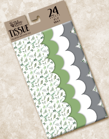Watercolor Greenery Scalloped Tissue Paper