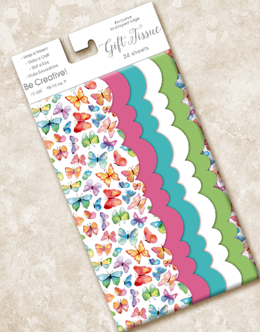 Watercolor Butterflies Scalloped Tissue Paper