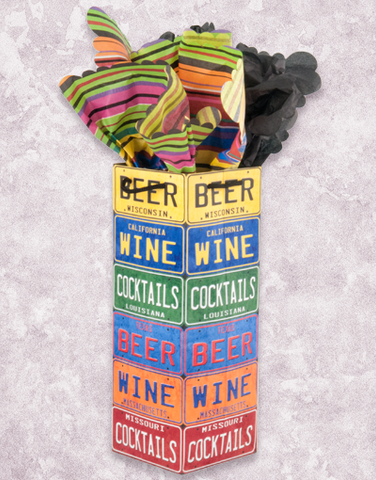 License Plate Wine Bags
