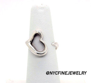 afefeded4 TIFFANY & CO. 925 Sterling Silver ELSA PERETTI Open Heart Ring,Size ...