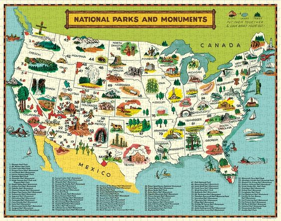 National Parks Map Vintage 1000 Piece Puzzle