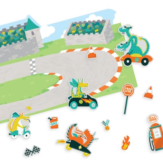 Play Again! Reusable Sticker Scenes - Dragon Racetrack