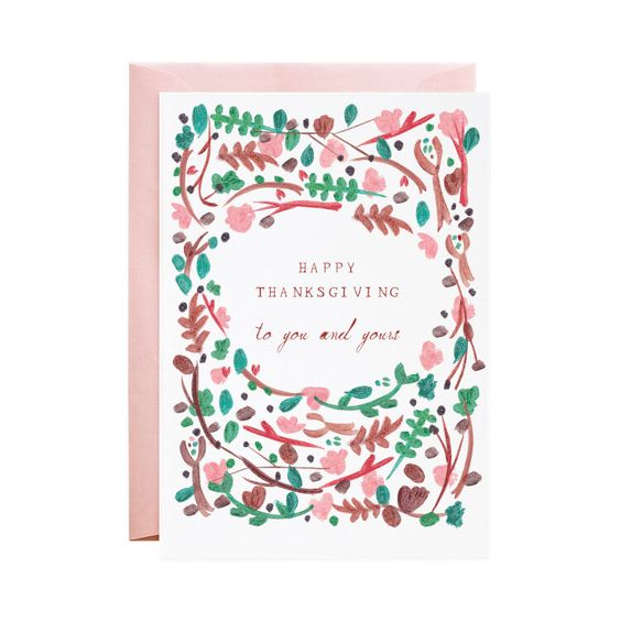 Floral Wreath Thanksgiving Card