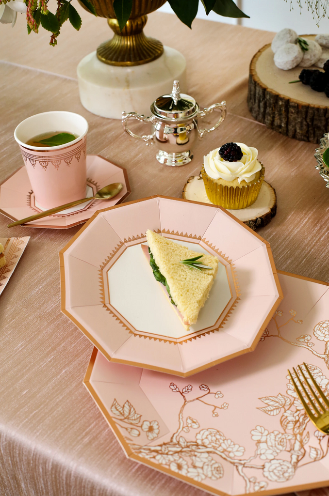 Jardin - Pale Pink Embellished Small Paper Plates