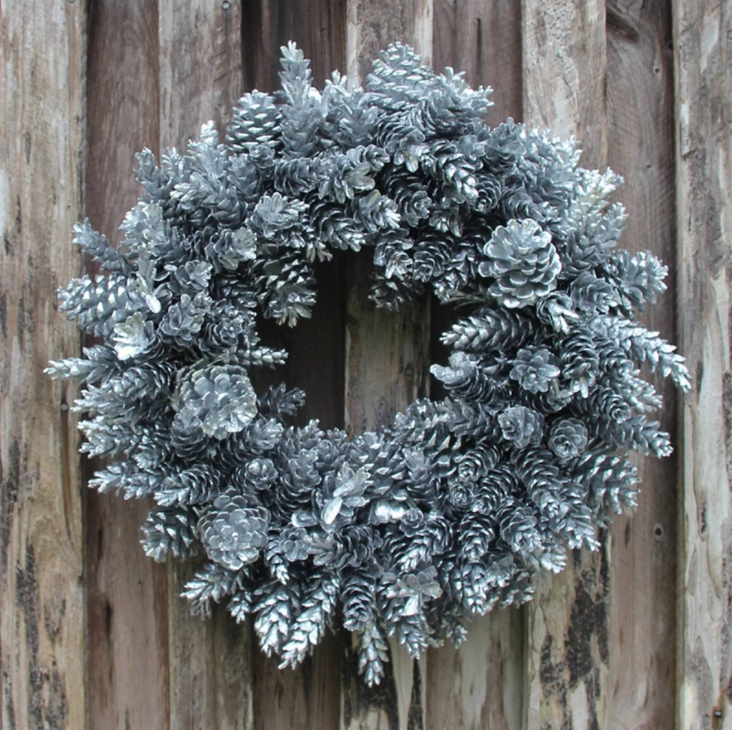 Silver Pinecone Wreath
