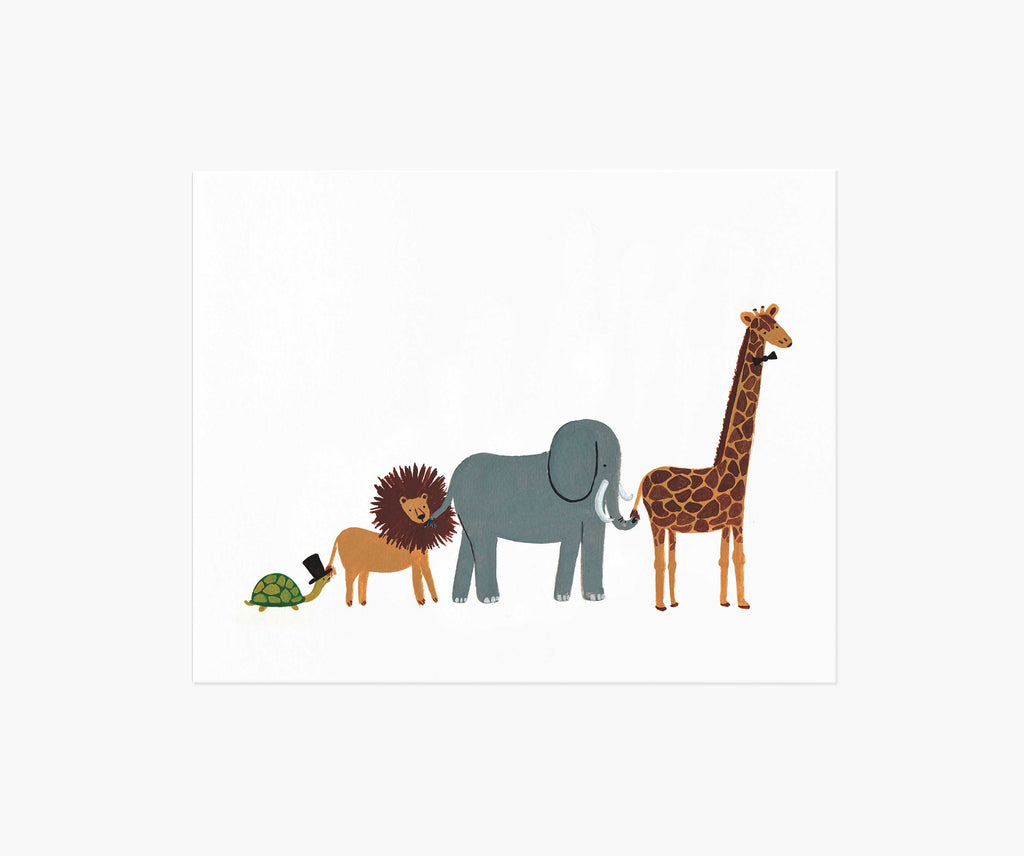 Animal Party Parade Art Print 8 x 10