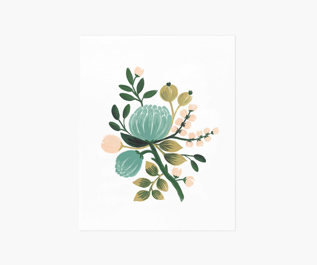 Blue Botanical Art Print 8 x 10
