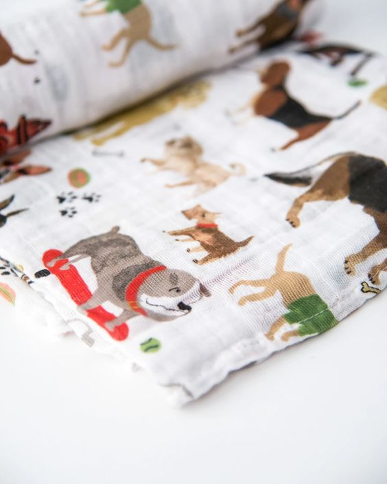 Cotton Muslin Swaddle Blanket - Woof