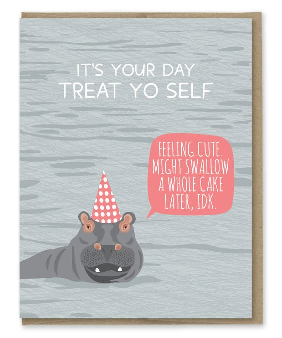 Hippo Swallow Cake Birthday Card