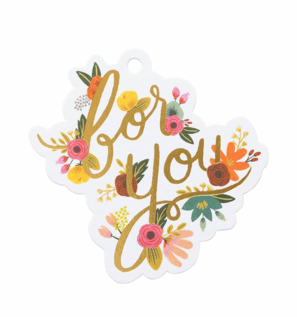 Mint Floral 'For You' Die-Cut Gift Tags
