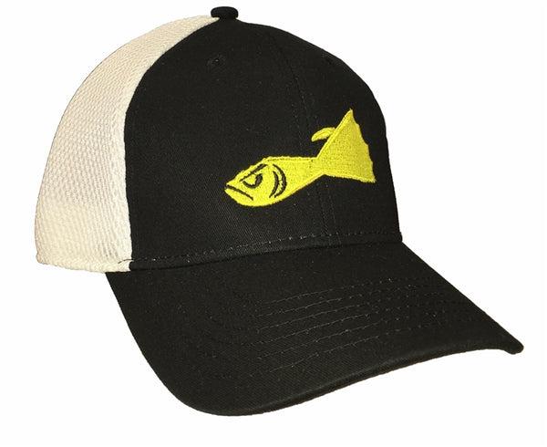BUCKTAIL JIG HAT BLACK WITH WHITE MESH