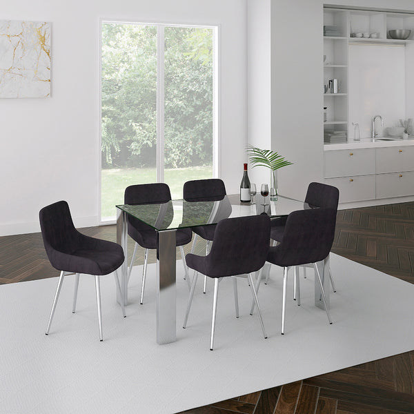 Sid 7 pc Dining Set (Chrome / Black)