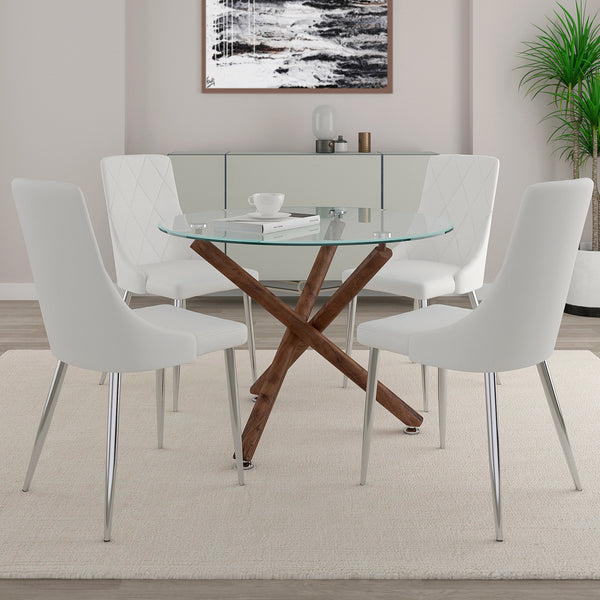 Alen / Akita 5 Pc Dining Set (Walnut / White)