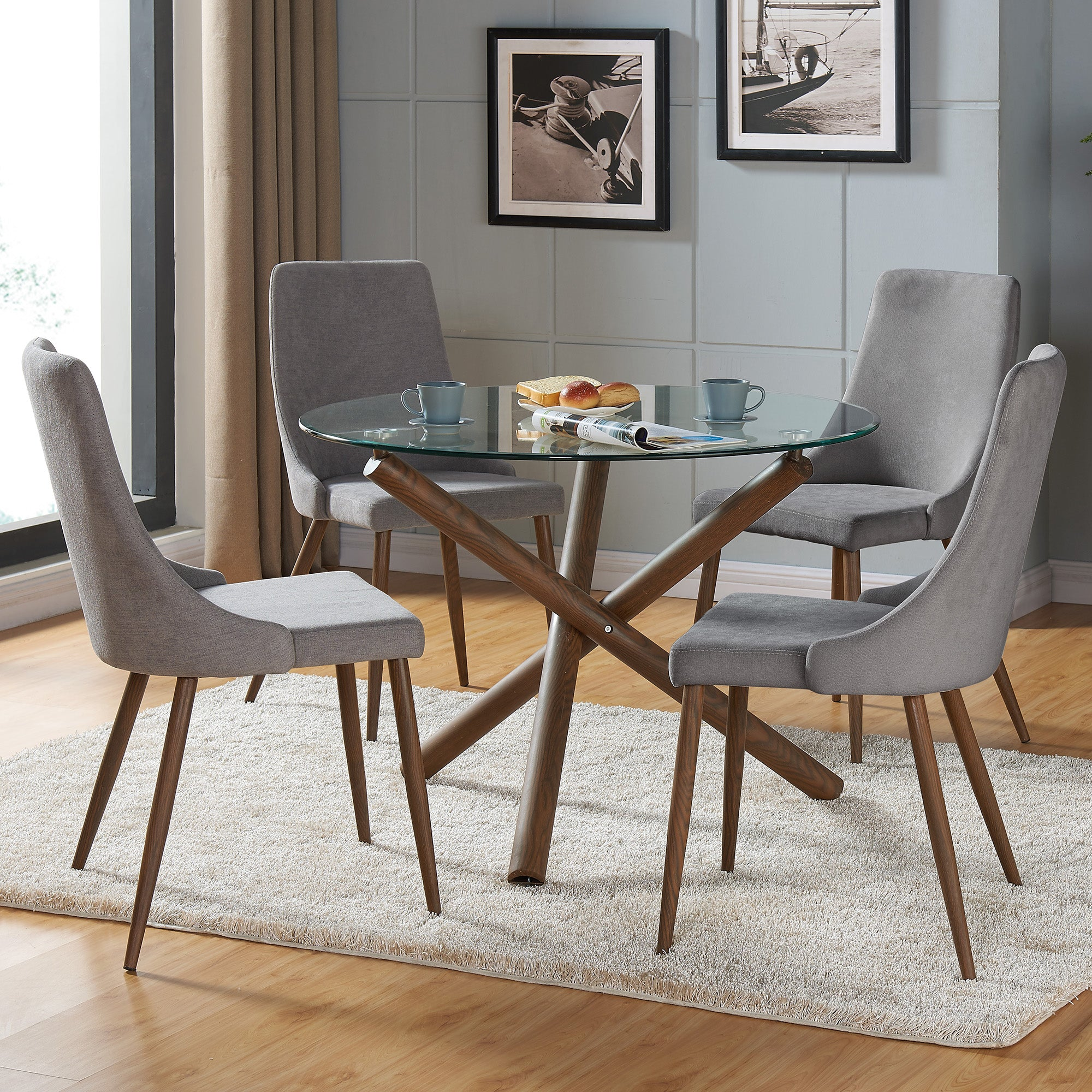 Alen / Aido 5 Pc Dining Set (Walnut / Grey)